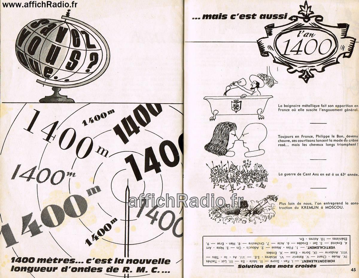 publicité pour la fréquence 1400 M.
